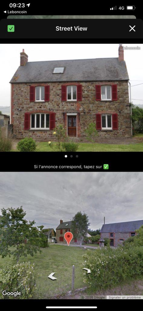 Maison identifiée dans Coo grâce à Street View